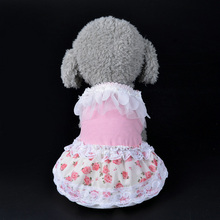 New Fashion Pet Skirt Clothes Cute Lace Rose Floral Skirt Pet Cat Dog Summer Dress For Puppy Clothes S-XL(China)