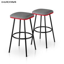 iKayaa 2PCS/Set Modern Metal Bar Stools with Footrest Counter Pub Stool Padded Seat Kitchen Chairs Bar Furniture US DE Stock(China)