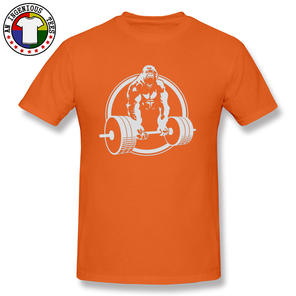 Casual Family Short Sleeve Printed T Shirts 100% Cotton O-Neck Men Tops & Tees Street Tshirts VALENTINE DAY Drop Shipping Gorilla Lifting Fitness Gym Tee 24451 orange
