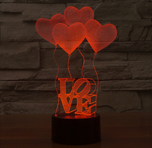Love Heart Balloons Sensor LED Night Light Children 3D Luminaria Lamp Romantic Atmosphere Bedroom Nightlight Holiday Decoration
