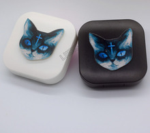 LIUSVENTINA DIY acrylic  cute cat contact lens case for eyes contact lenses box for glasses