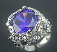 CiNily 18.95g Mysterious Wholesale Jewelry 4 Cow Purpel Zircon Black Onyx Silver Plated Ring Size 6 / 7 / 8 / 8.25 NR4964