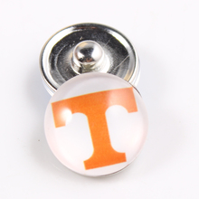 10PCS Tennessee Volunteers Logo 18mm Snap Button Fit Ginger Snap Bracelet Bangles Charms NCAA Football Baseball Series Jewelry