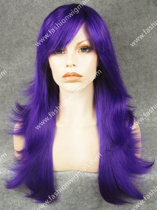 24 Long  #3700L Blue Heavy Density Natural Straight Synthetic Hair Canival Wig With Bang W10<br><br>Aliexpress