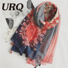 Tassels Scarf Woman print pasily foulard Chinese style Flower Tassels Shawls hijab Sping and summer Women Long  2017 new brand