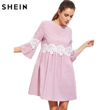 SHEIN Pink Floral Lace Applique Fluted Sleeve Striped Smock Dress Summer Three Quarter Length Sleeve A Line Dress(China)