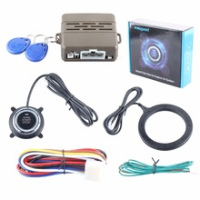 Performance stable RFID car alarm system with green or red running light push start button & transponder immobilizer