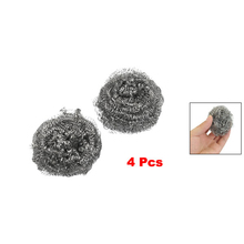 Best selling Kitchen Dish Pot Cleaning Steel Wire Spiral Scourer Ball 4 Pcs