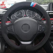 XUJI All Black Suede DIY Hand-stitched Car Steering Wheel Cover for BMW F30 316i 320i 328i