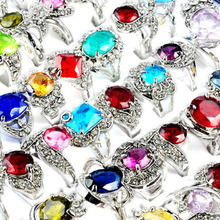 Wholesale Jewelry Lots 5PCS Big Rhinestone Crystal Zircon Silver Plated Rings Bulk