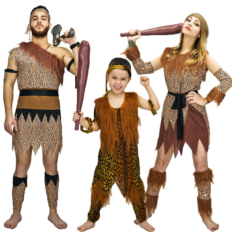 Funny Caveman Costume Halloween Fancy Dress leopard printed party costumes