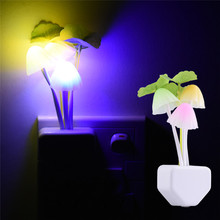 Romantic Colorful LED 110-220V 3 LEDS Mushroom Night Light Bed Lamp Home Illumination Light sensor automatic startup EU US Plug