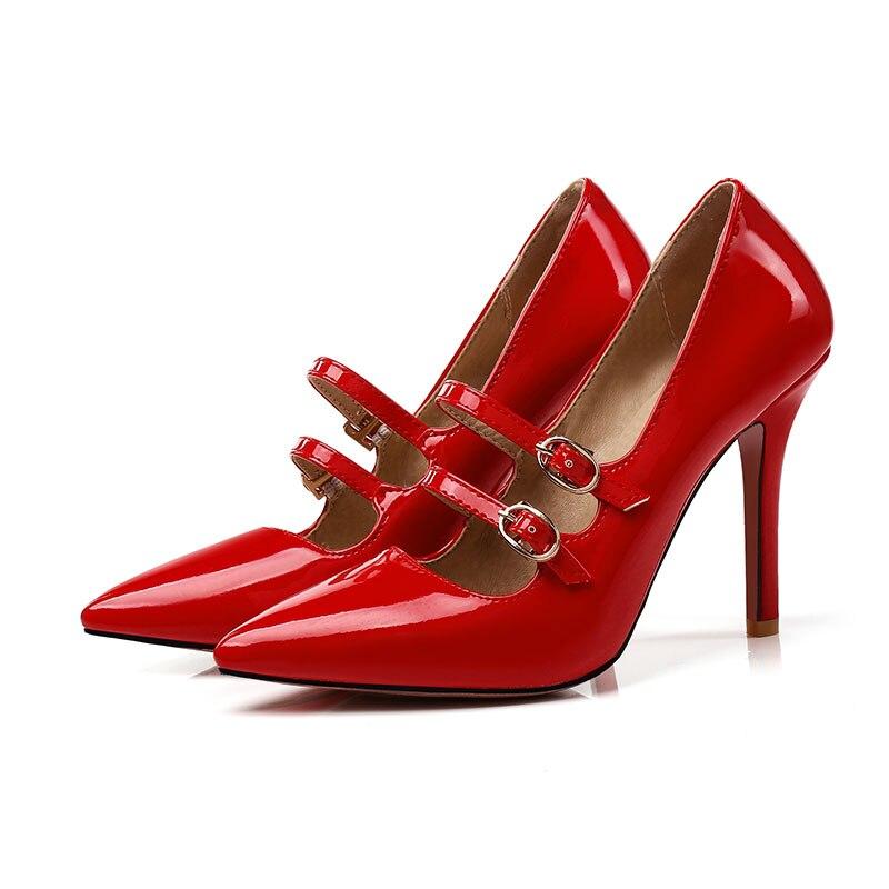 Lasyarrow Brand Shoes Woman High Heels Women Pumps Stiletto Thin Heel  Pointed Toe Patent leather Zapatos Feminina Buckle RM260 ac5889ac9aef