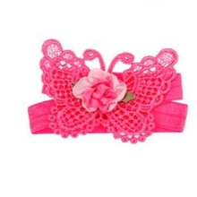 Flowers White Children Good Quality Beautiful Baby Girl Butterfly Design Foot Band Ties Barefoot Sandals Shoes Infant Toddler