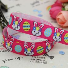 5/8 inch Free shipping Fold Over Elastic easter rabbit egg printed ribbon headband diy decoration wholesale OEM P2265