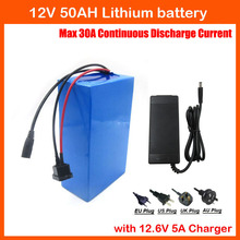 350W High capacity 12V 50AH lithium battery pack 12V 50000MAH rechargeable battery with 12.6V 5A charger 30A BMS free shipping(China)
