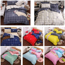 Fashion 4Pcs Twin/Full/Queen Size Bed Quilt/Duvet Cover Set White Blue Yellow Red Blue Green Pink Gray Checked Plaid Crown Beard