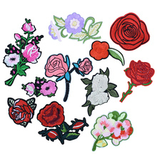 Rose flower patches for clothing iron on patches for clothes badges clothes iron-on parches applique patches for jeans 11pcs(China)