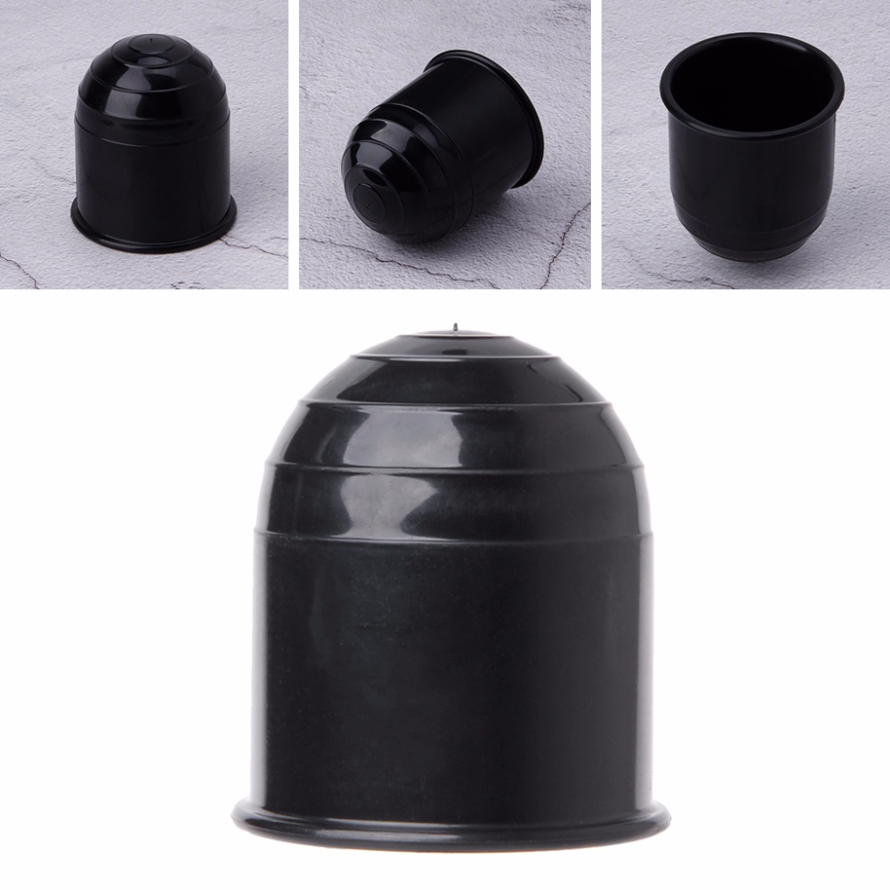 50mm Black Tow Bar Ball Cover Cap Car Auto Towing Hitch Towball Protect Plastic