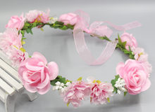 Summer Wedding Floral Crown Head Band Floral Head Wreath Women Flower Headband Bridesmaid Bridal Headpiece Girls Flower Crown(China)