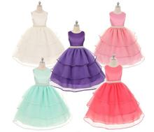 2016 Summer girl baby clothes sleeveless crystal belt decoration formal dress children princess dress party kids clothes XQ-168