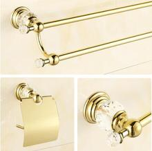 New brass and crystal Bathroom Accessories Set,Robe hook,Paper Holder,Towel Bar,Soap basket,towel rack,towel ring, bathroom sets