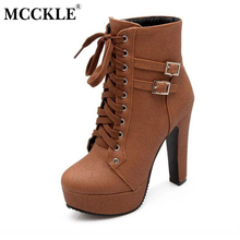 MCCKLE 2017 Spring Autumn Women Ankle Boots Female High Heels Lace Up Leather Shoes Woman Double Buckle Platform Fashion Shoes(China)