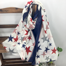 Classic Red Blue Star Pattern Cotton Blended Fringed Scarf Shawls for Women Popular American Style Printing Long Pashmina Wraps(China)