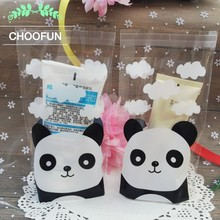 100pcs 10*15+3cm Panda Pattern Style Self-adhesive Seal Plastic Candy Bag OPP Snack and Cake Gift Packaging Bag BZ156(China)