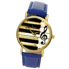 Blue Leather Music Black And White Piano Key Ladies' Watch Metal Alloy Gold Plated Quartz Analog Clock Regolio Feminino