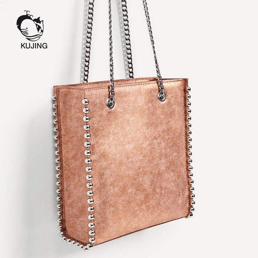 KUJING Fashion Handbags High Quality Rivets Women Business Handbags Luxury PU Women Shoulder Messenger Bag Hot Casual Women Bag<br>