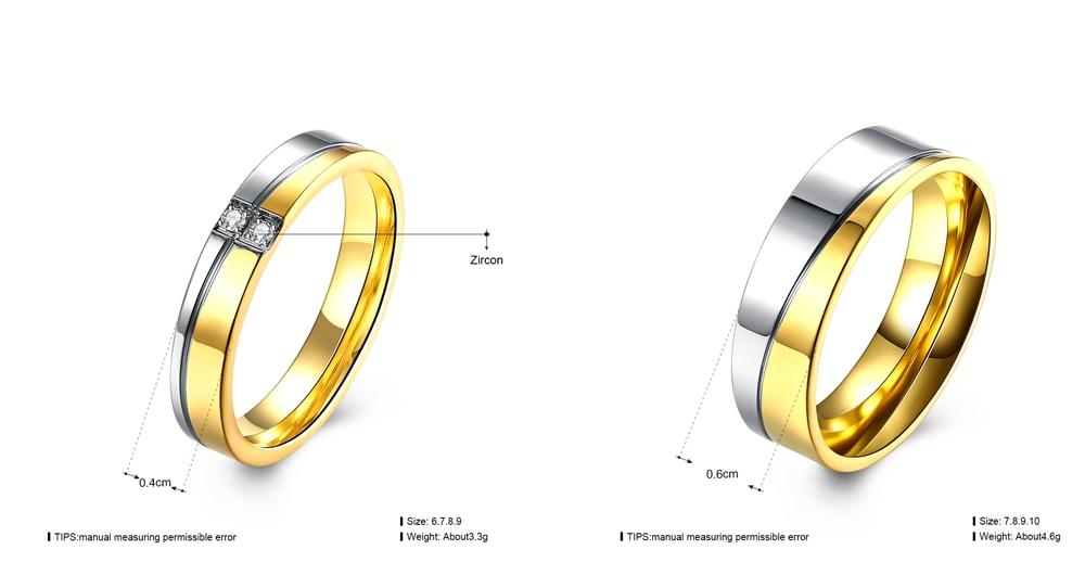 Grosshandel Hochzeit Marke Allianz Ring Gold Farbe Paar Frau Ringe