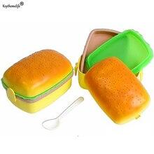 Keythemelife Children Hamburger Bento Lunch Box Food Container Storage Scoop 700ML Lunch Box Wonderful Gift Child 2B