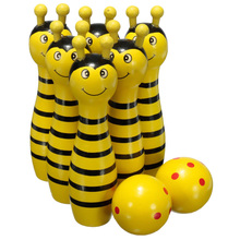 Wooden Bowling Ball Skittle Animal Shape Game For Kids Children Toy Yellow(China)