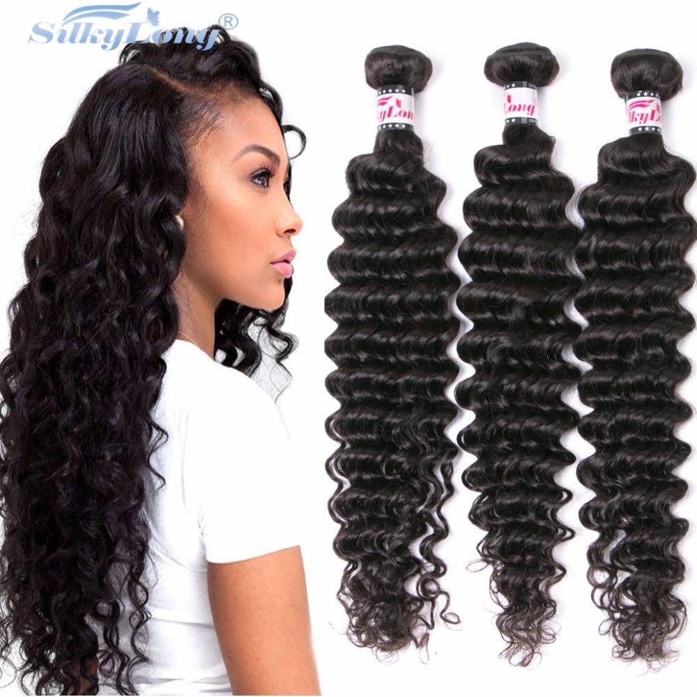 SilkyLong Hair Brazilian Virgin Hair Deep Wave 4 Bundles 7A Unprocessed Human Hair Weave Brazilian Deep Wave Brazilian Hair Weft<br><br>Aliexpress