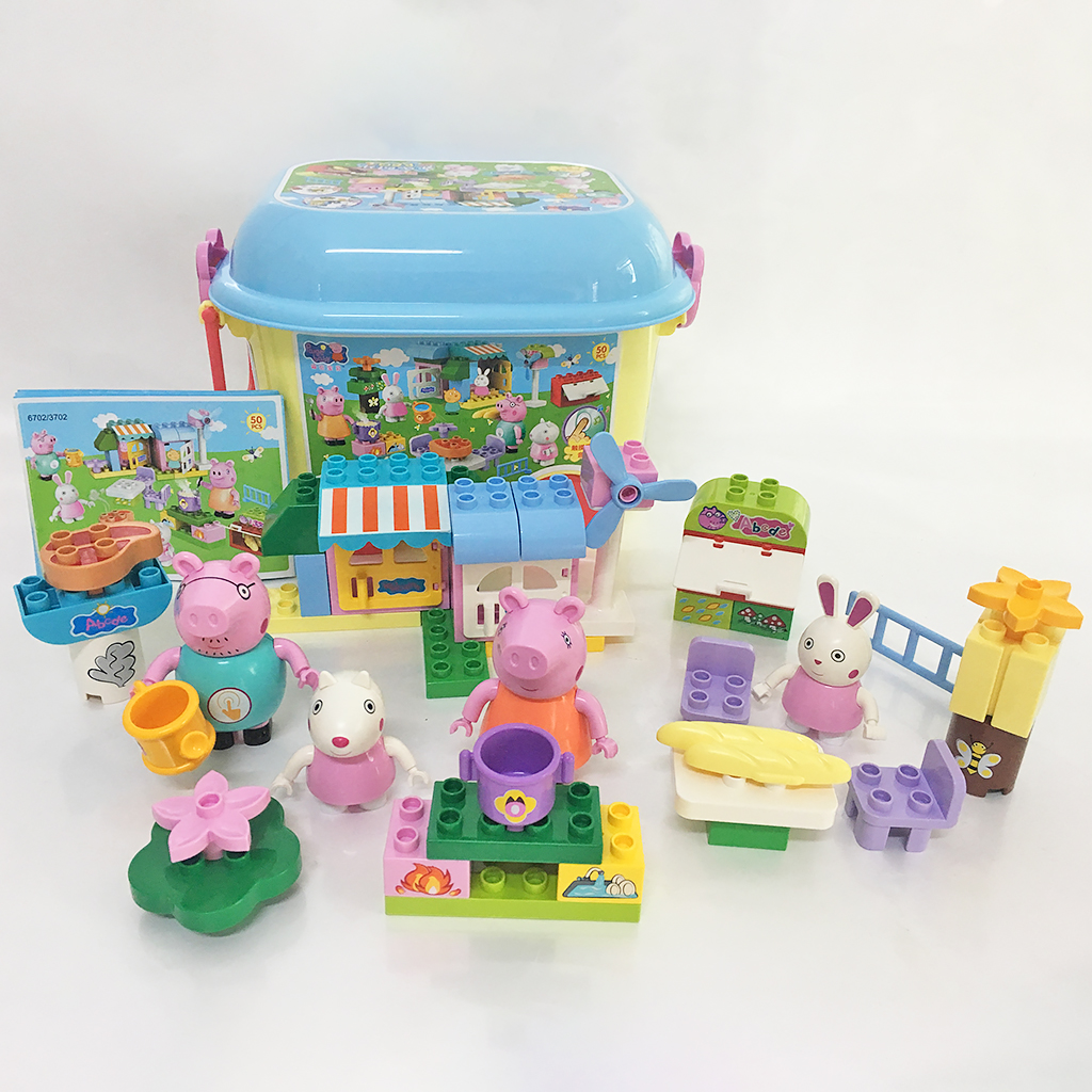MOC Cartoon Family BBQ Scene Building Block Playing Set Duploes Lepines In Four Wheels Storage Box Christmas Gift Toy for Child<br>