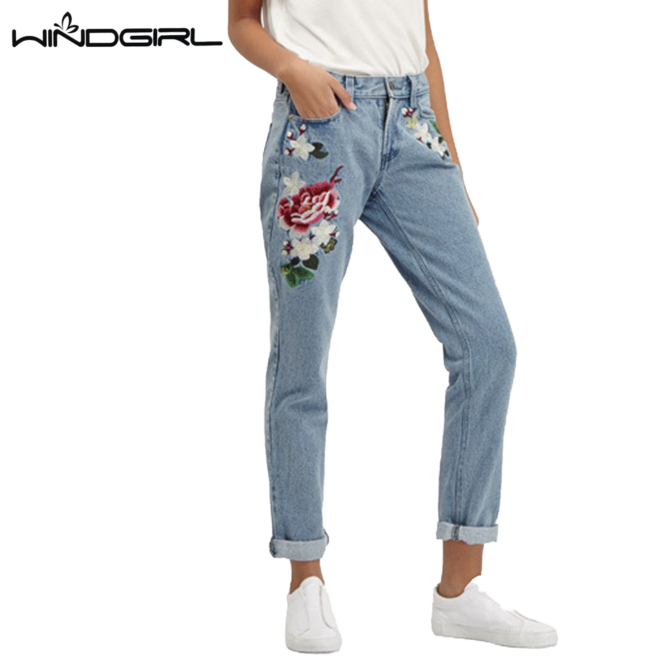 WINDGIRL Cotton Floral Embroidery Jeans Female Winter Zipper Straight Denim Pants Jeans Women Fashion Pocket Light Trousers JeanОдежда и ак�е��уары<br><br><br>Aliexpress