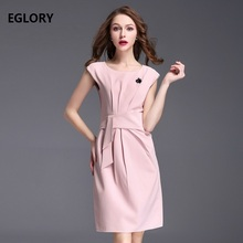 New 2017 Summer Style Party Cocktail Women Fashion Dress O-Neck Appliques Swan Beads Slim Belt Waist Pink Black Dress Office
