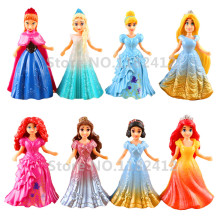 Princess MagiClip Easy-Dress 8 PCS Dolls Set Rapunzel Little Mermaid Elsa Anna Snow White Cinderella Belle Merida Figures Toys