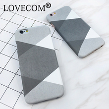 LOVECOM Geometry Splice Rhombus Dull Polish Hard PC Phone Back Cover Cases For iPhone 6 6S 5 5S SE 7 Plus Capa Fundas Cool Cover