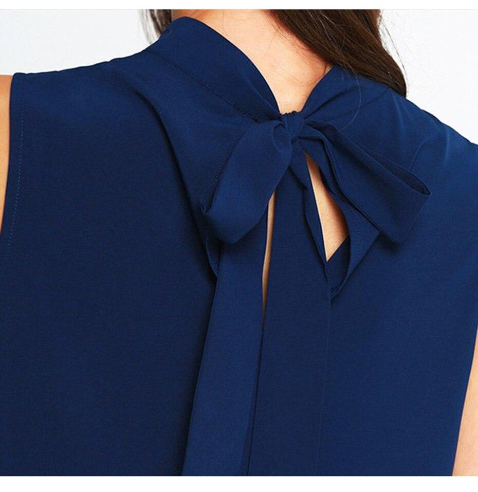 2018 summer dress women Chiffon office Dress elegant V neck Bow Sleeveless Casual dresses solid a line ladies blue Mini vestidos 7