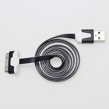 1M/3FT Flat Noodle USB Sync Data Charger Cable For iPhone 4 4S 3GS iPod