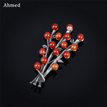 Ahmed Retro Semi-precious Stones Plant Brooches Charm Vintage Antique Scarf Suit Cat Clip Up For Women Fashion Corsage Ornament(China)