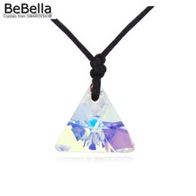 BeBella new triangle collection pendant with rope chain necklace made with Crystals from Swarovski for party girl without clasp