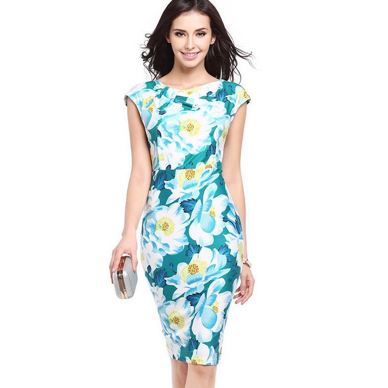 Оптовые Женщины Платья Плюс Размер Женская Одежда 2017 Весной и Осенью Желтые Ladies Dress Casual Dress Печати Зеленый Леди G43(China)
