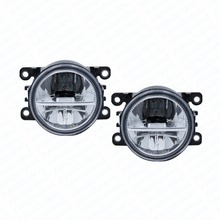 2pcs Car Styling Round Front Bumper LED Fog Lights DRL Daytime Running Driving fog lamps  For Peugeot 207 CC Convertible WD_
