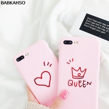 BABKAHSO pink love crown drawing Case for iphone 7 7Plus lovely woman Case For iphone 6 6s 8 8plus 6Plus girl style soft(China)