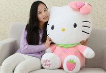 fillings toy pink strawberry fruit design hello kitty plush toy soft throw pillow high quality birthday gift b4974(China)