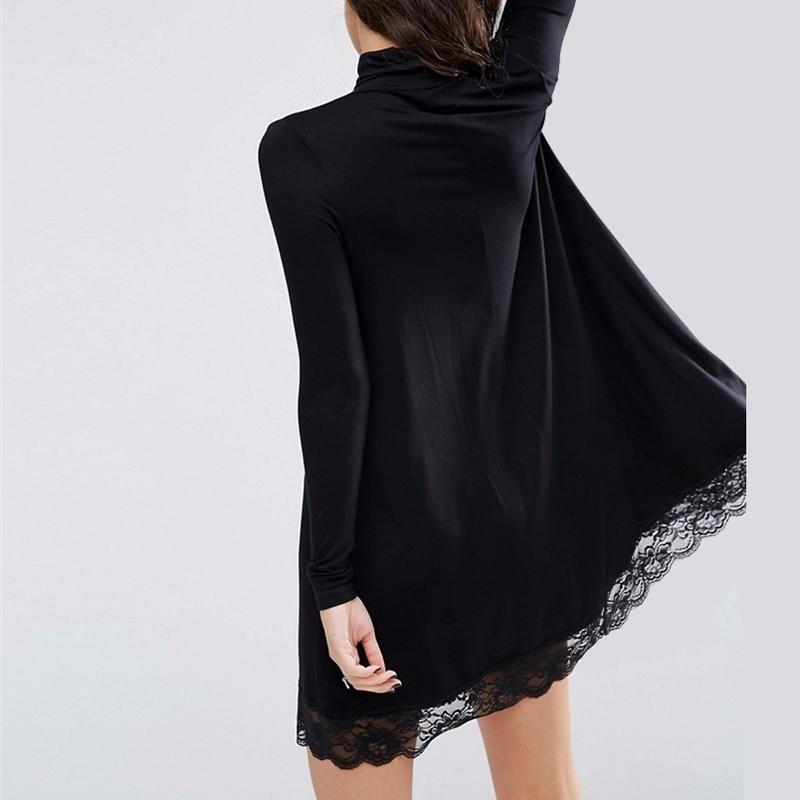 2017-Autumn-New-Arrival-Women-Sexy-Black-Crochet-Turtleneck-Lace-Long-Sleeve-Loose-Shift-Dress-Female (2)