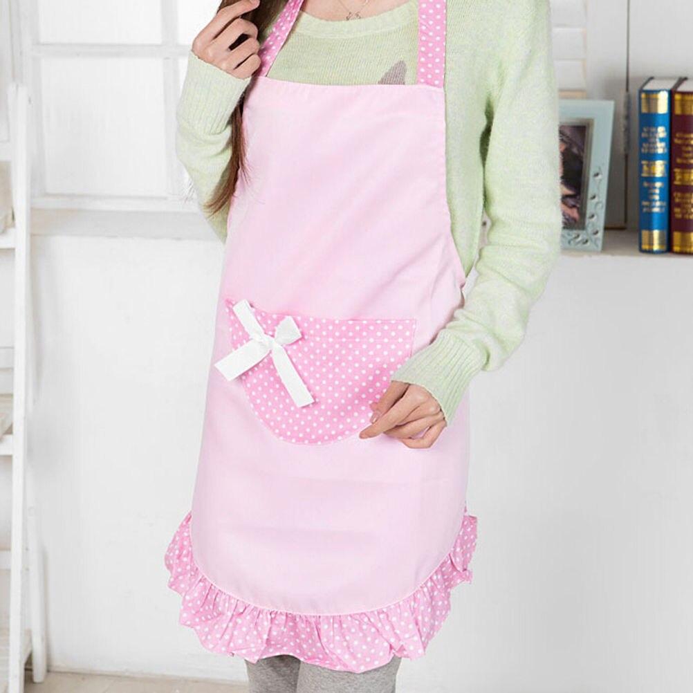 Cute Apron Korean Style Polka Dot Kitchen Restaurant Pocket Apron Women Girls Kitchen Accessories 4 Colors